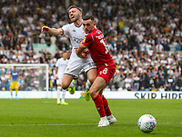 Leeds United's Stuart Dallas is checked by Nottingham Forest's Jack Robinson<br /> <br /> Photographer Alex Dodd/CameraSport<br /> <br /> The EFL Sky Bet Championship - Leeds United v Nottingham Forest - Saturday 10th August 2019 - Elland Road - Leeds<br /> <br /> World Copyright © 2019 CameraSport. All rights reserved. 43 Linden Ave. Countesthorpe. Leicester. England. LE8 5PG - Tel: +44 (0) 116 277 4147 - admin@camerasport.com - www.camerasport.com