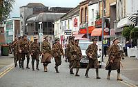 Men in World War I gear in Swansea, south Wales UK. Friday 01 July 2016