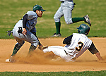 24 April 2007: Dartmouth College Big Green Ezra Josephson, a Freshman from Key West, FL, gets Jim Chapman, a Senior from Bourne, MA, out at second during a game against the University of Vermont Catamounts at Historic Centennial Field, in Burlington, Vermont...Mandatory Photo Credit: Ed Wolfstein Photo