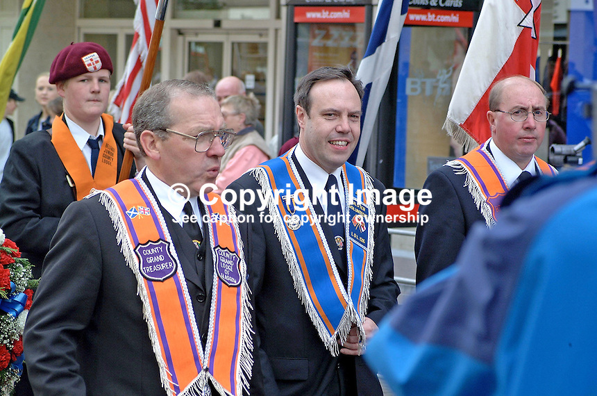 Nigel Dodds, Democratic Unionist Party MLA and Westminster MP (centre), taking part in Twelfth Parade in Belfast. Ref: 200107122697.<br />