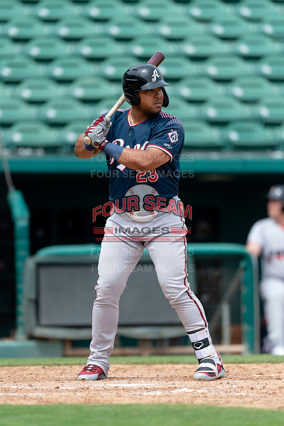 Reno Aces first baseman Yasmany Tomas (23) batting during a game against the Fresno Grizzlies at Chukchansi Park on April 8, 2019 in Fresno, California. Fresno defeated Reno 7-6. (Zachary Lucy/Four Seam Images)