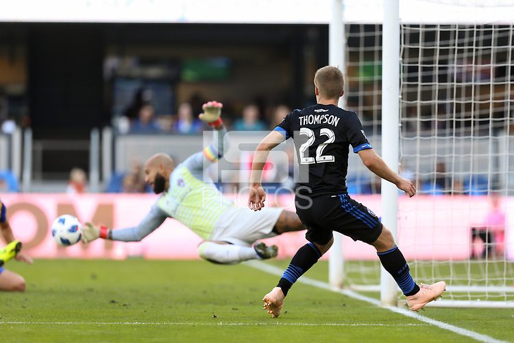 San Jose, CA - Sunday October 21, 2018: Tommy Thompson, Tim Howard during a Major League Soccer (MLS) match between the San Jose Earthquakes and the Colorado Rapids at Avaya Stadium.