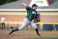 Jamestown Jammers pitcher Montana DuRapau (14) delivers a pitch during a game against the Batavia Muckdogs on July 25, 2014 at Dwyer Stadium in Batavia, New York.  Batavia defeated Jamestown 7-2.  (Mike Janes/Four Seam Images)