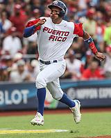 Carlos Correa de Puerto Rico anota carrera en la tercera entrada, durante el partido entre Italia vs Puerto Rico, World Baseball Classic en estadio Charros de Jalisco en Guadalajara, Mexico. Marzo 12, 2017. (AP Photo/Luis Gutierrez)