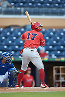 Brian O'Grady (17) of the Louisville Bats at bat against the Durham Bulls at Durham Bulls Athletic Park on May 28, 2019 in Durham, North Carolina. The Bulls defeated the Bats 18-3. (Brian Westerholt/Four Seam Images)