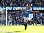 Bilel Mohsni celebrates with David Templeton after scoring for Rangers
