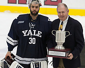 Patrick Spano (Yale - 30), Ben Smith - The Harvard University Crimson tied the visiting Yale University Bulldogs 1-1 on Saturday, January 21, 2017, at the Bright-Landry Hockey Center in Boston, Massachusetts.