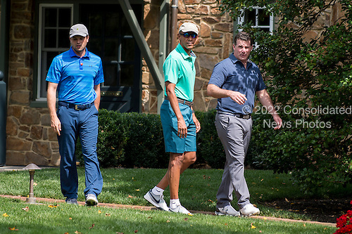 United StatesPresident Barack Obama is greeted by unidentified golfers as he arrive to play a round of golf at Caves Valley Golf Club in Owings Mills, Maryland, U.S., on Saturday, Sept. 10, 2016.  Caves Valley is a members owned private club that has been rated among the top 50 of America's best modern courses by GolfWeek Magazine. <br /> Credit: Pete Marovich / Pool via CNP
