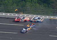 Apr 26, 2008; Talladega, AL, USA; NASCAR Nationwide Series driver D.J. Kennington (81) Brett Rowe (05) and Brad Coleman (27) crash during the Aarons 312 at the Talladega Superspeedway. Mandatory Credit: Mark J. Rebilas-