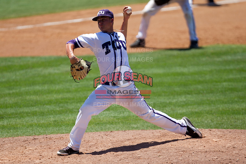 Pitcher Brandon Finnegan #29 of the Texas Christian University Horned Frogs delivers during the NCAA Regional baseball game against the Ole Miss Rebels on June 1, 2012 at Blue Bell Park in College Station, Texas. Ole Miss defeated TCU 6-2. (Andrew Woolley/Four Seam Images)