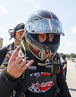 Sep 5, 2016; Clermont, IN, USA; NHRA top alcohol funny car driver Jonnie Lindberg during the US Nationals at Lucas Oil Raceway. Mandatory Credit: Mark J. Rebilas-USA TODAY Sports
