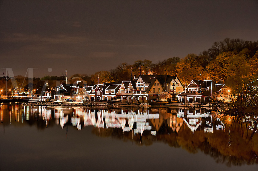 Boathouse Row and the Schuylkill River at night, Philadelphia, Pennsylvania