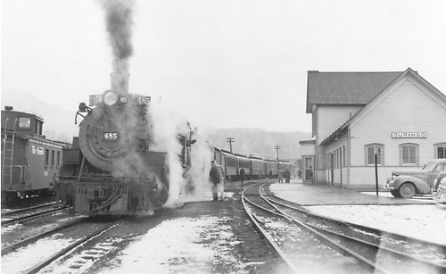 D&amp;RGW #485 preparing to leave Durango with the San Juan.<br /> D&amp;RGW  Durango, CO  1/27/1951