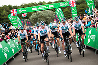 Picture by Alex Whitehead/SWpix.com - 02/09/2018 - Cycling - OVO Energy Tour of Britain - Stage 1: Pembrey Park to Newport, Wales - Geraint Thomas and Chris Froome of Team Sky during the roll out.