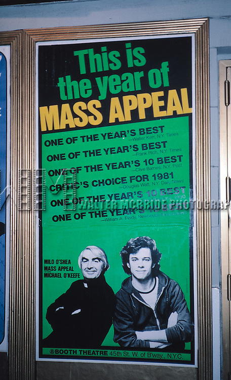 Theatre Marquee Poster for Milo O'Shea and Michael O'Keefe Opening Night of 'MASS APPEAL' at the Booth Theatre in New York City on 11/12/1981
