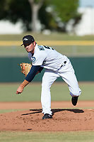 Peoria Javelinas pitcher Anthony Misiewicz (56), of the Seattle Mariners organization, follows through on his delivery during the Arizona Fall League Championship game against the Salt River Rafters at Scottsdale Stadium on November 17, 2018 in Scottsdale, Arizona. Peoria defeated Salt River 3-2 in 10 innings. (Zachary Lucy/Four Seam Images)