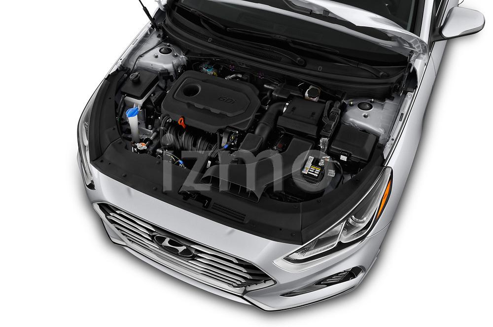Car stock 2018 Hyundai Sonata Limited 4 Door Sedan engine high angle detail view