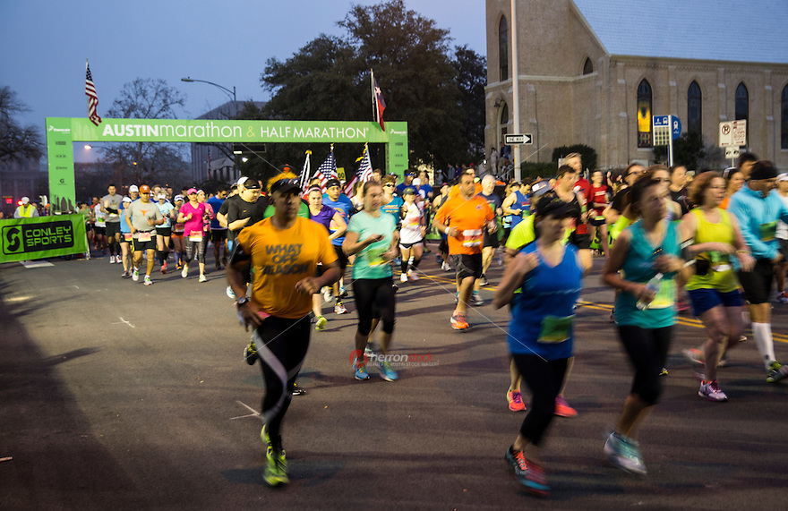 Runners compete in the annual Austin Marathon and Half Marathon. Austin's downtown streets swelled with racers for Austin's Marathon and Half Marathon. Nearly 18,000 racers hailed from around the world and all 50 states.