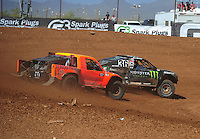 Apr 17, 2011; Surprise, AZ USA; LOORRS driver Rick Huseman (36) leads Adrian Cenni (11) during round 4 at Speedworld Off Road Park. Mandatory Credit: Mark J. Rebilas-