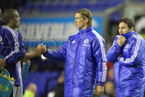26.10.2011. Liverpool, England. Fernando Torres congratulates Oriol Romeu in the Carling Cup match between Everton and Chelsea at Goodison Park. Mandatory Credit ActionPlus.