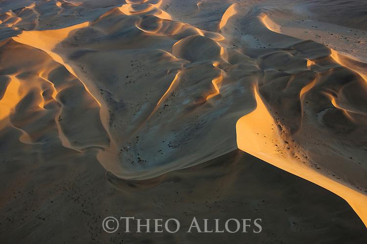 Namibia, Namib Desert, aerial of sand dunes near Walvis Bay