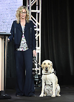 """PASADENA, CA - JANUARY 31: Consultant Lorri Bernson and her dog Captain from """"In The Dark"""" during the CW portion of the 2019 Television Critics Association Winter Press Tour at the Langham Huntington on January 31, 2019, in Pasadena, California. (Photo by Frank Micelotta/PictureGroup)"""