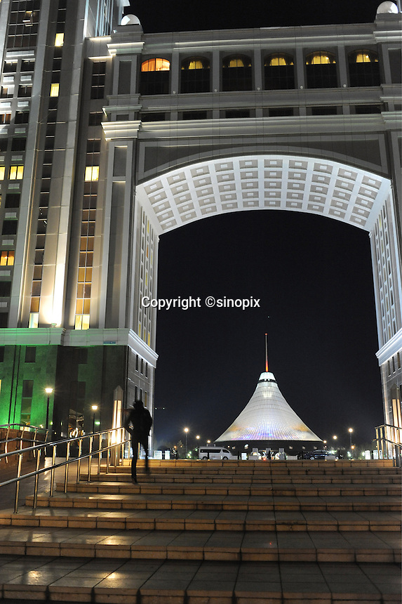 The massive tented shopping center is seen through the arch of a new building in Astana, the capitol of Kazakstan.<br /> <br /> PHOTO BY RICHARD JONES/SINOPIX