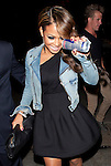 April 3rd   2012    ...Christina Milian leaving Sur restaurant in Los Angeles holding a red bull drink .wearing a short skirt showing off her aqua blue green underwear panties. ...AbilityFilms@yahoo.com.805-427-3519.www.AbilityFilms.com