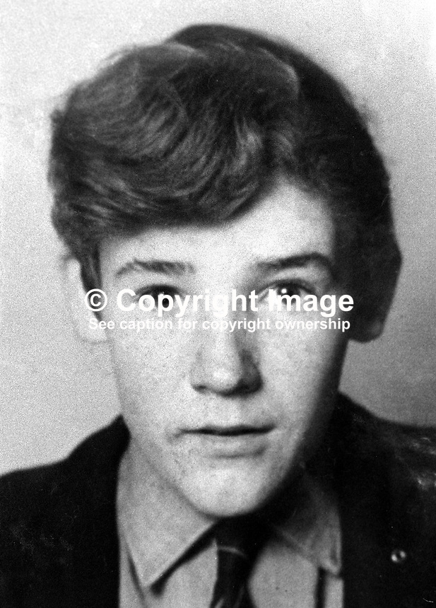 George Hyde, 19 years, UFF / UVF connections, from Portadown, Co Down, who was found dead in his cell in Long Kesh Internmant Camp, near Lisburn, N Ireland, 2th December 1973. His compound for loyalist inmates was locked by warders at 9 pm the previous evening. He was found dead from serious head injuries by warders at 3 am the following morning. There was speculation that he was a police informer and about to name accomplices. Both the UDA and UVF were believed to have been been involved in Hyde's murder. 197312260778.<br />