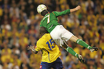 29 May 2008: Aiden McGeady (IRL) (7) goes over Carlos Alberto Sanchez (COL) (15) for a header. The Republic of Ireland Men's National Team defeated the Colombia Men's National Team 1-0 at Craven Cottage in London, England in an international friendly soccer match.