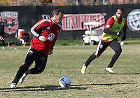 WASHINGTON, DC - NOVEMBER 14, 2012: Hamdi Salihi (9) of DC United during a practice session before the second leg of the Eastern Conference Championship at DC United practice field, in Washington, DC on November 14.