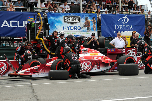 8-10 July, 2011, Toronto, Ontario CA<br /> Marco Andretti pit stop.<br /> (c)2011, Paul Webb<br /> LAT Photo USA