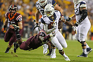 Landover, MD - September 3, 2017: West Virginia Mountaineers running back Kennedy McKoy (4) runs with the ball during game between Virginia Tech and WVA at  FedEx Field in Landover, MD.  (Photo by Elliott Brown/Media Images International)