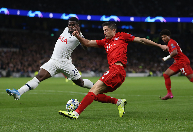 Bayern Munich's Robert Lewandowski and Tottenham Hotspur's Serge Aurier<br /> <br /> Photographer Rob Newell/CameraSport<br /> <br /> UEFA Champions League Group B  - Tottenham Hotspur v Bayern Munich - Tuesday 1st October 2019 - White Hart Lane - London<br />  <br /> World Copyright © 2018 CameraSport. All rights reserved. 43 Linden Ave. Countesthorpe. Leicester. England. LE8 5PG - Tel: +44 (0) 116 277 4147 - admin@camerasport.com - www.camerasport.com