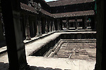 An interior courtyard inside the central temple complex at Angkor Wat, Cambodia. June 7, 2013.