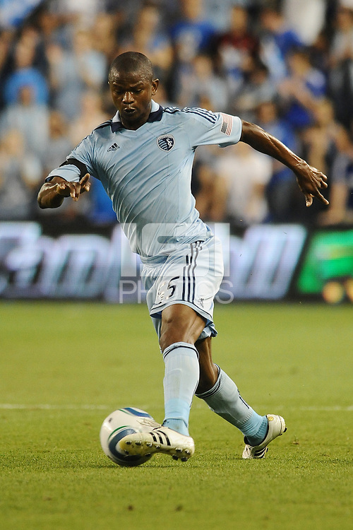 Julio Cesar (55) Sporting KC midfielder in action...Sporting KC defeated San Jose Earthquakes 1-0 at LIVESTRONG Sporting Park, Kansas City ,Kansas,..