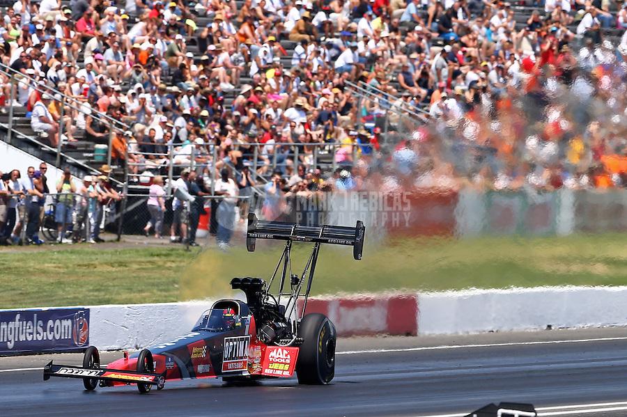 Jun. 1, 2013; Englishtown, NJ, USA: NHRA top fuel dragster driver David Grubnic during qualifying for the Summer Nationals at Raceway Park. Mandatory Credit: Mark J. Rebilas-