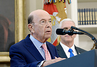 United States Secretary of Commerce Wilbur Ross speaks about trade in the Oval Office of the White House March 31, 2017 in Washington, DC. Photo Credit: Olivier Douliery/CNP/AdMedia