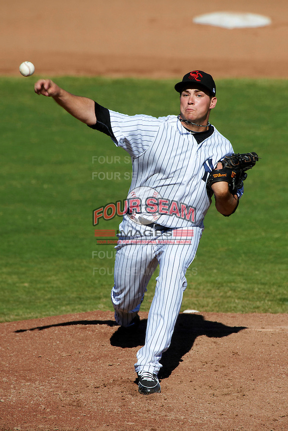 Scottsdale Scorpions pitcher Dan Burawa #30, of the New York Yankees organization, during an Arizona Fall League game against the Surprise Saguaros at Scottsdale Stadium on October 16, 2012 in Scottsdale, Arizona.  Surprise defeated Scottsdale 11-3.  (Mike Janes/Four Seam Images)