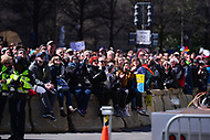 Washington, DC - March 24, 2018: People watch a large screen of the main-stage speakers as hundreds of thousands of people gather in Washington, DC for the national March for Our Lives Rally, March 24, 2018.  (Photo by Don Baxter/Media Images International)