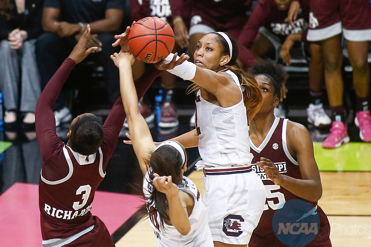 DALLAS, TX - APRIL 2: A'ja Wilson #22 of the South Carolina Gamecocks blocks Breanna Richardson #3 of the Mississippi State Lady Bulldogs during the 2017 Women's Final Four at American Airlines Center on April 2, 2017 in Dallas, Texas. (Photo by Timothy Nwachukwu/NCAA Photos via Getty Images)
