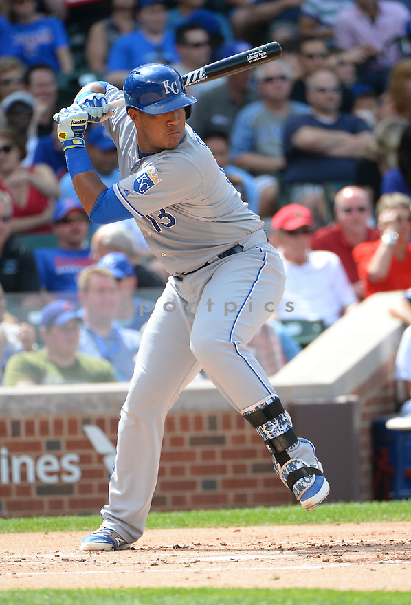Kansas City Royals Salvador Perez (13) during a game against the Chicago Cubs on May 29, 2015 at Wrigley Field in Chicago, IL. The Royals beat the Cubs 8-4.