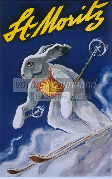 Europe/Suisse/Engadine/Saint-Moritz: Vieille affiche de la station de sport d'hiver - le lapin skieur