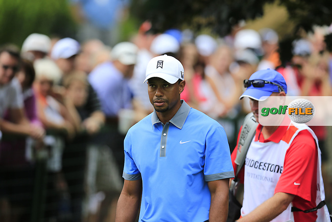 Tiger Woods (USA) walks onto the 10th tee during Friday's Round 1 of the 2013 Bridgestone Invitational WGC tournament held at the Firestone Country Club, Akron, Ohio. 2nd August 2013.<br /> Picture: Eoin Clarke www.golffile.ie
