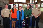 April 16, 2014; Bremerton, WA, USA; West Coast Conference Women's Golf Honorable Mention All-Conference Team (Not in order) Santa Clara Broncos golfer Monique Riley, San Francisco Dons golfer Clare Sorensen, Gonzaga Bulldogs golfer Han Wu, and Pepperdine Waves golfer Alina Ching during the WCC Golf Championships at Gold Mountain Golf Club.