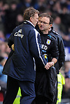 """David Moyes Everton manager and Martin O""""Neill Aston Villa manager hug at the end of the game during the Premier League match at Goodison Park  Stadium, Liverpool. Picture date 27th April 2008. Picture credit should read: Simon Bellis/Sportimage"""