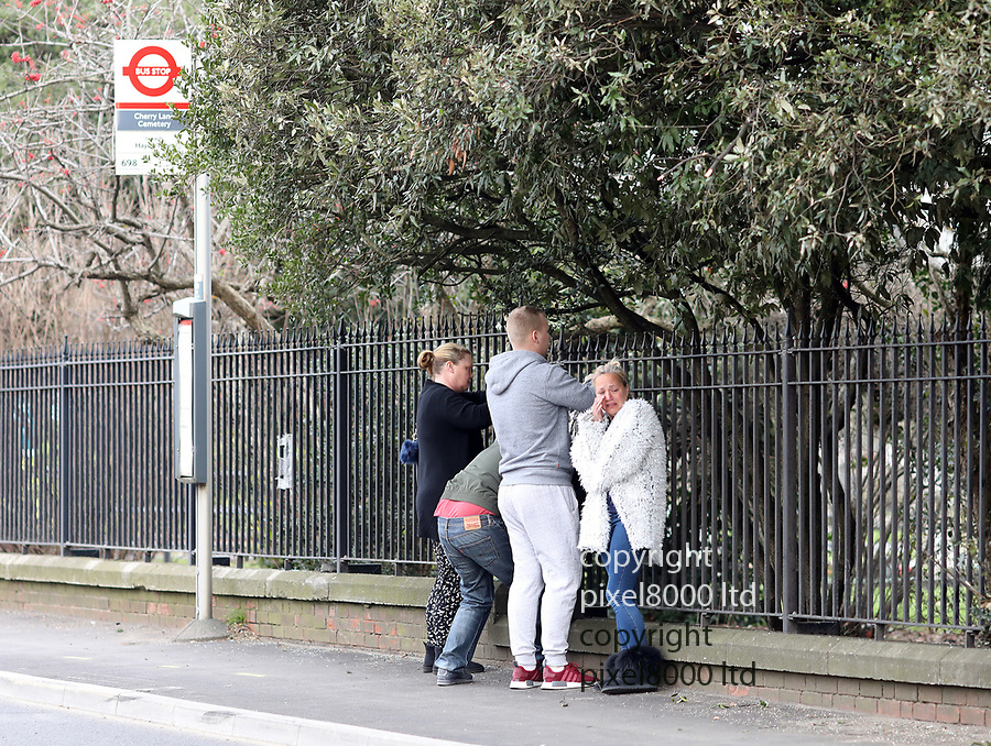 pix shows: Crash scene today in Hayes where three teens died on Friday night. <br /> <br /> Family members distraught as they flowers at the scene today<br /> <br /> Bus stop near Esso garage on  Shepiston Lane -<br /> <br /> scrapes can been seen on the wall and a brick pillar was destroyed  <br /> <br /> <br /> <br /> Pic by Gavin Rodgers/Pixel8000 Ltd