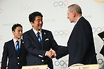 (L to R) <br />  Shinzo Abe, <br />  Jacques Rogge, <br /> SEPTEMBER 7, 2013 : <br /> A press conference after Tokyo was announced as the winning city bid for the 2020 Summer Olympic Games at the 125th International Olympic Committee (IOC) session in Buenos Aires Argentina, on Saturday September 7, 2013. (Photo by YUTAKA/AFLO SPORT) [1040]