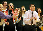 SPEARFISH, SD - FEBRUARY 22, 2014:  Black Hills State head women's basketball coach Mark Nore and the bench protest a non-call during their Rocky Mountain Athletic Conference game against UC-Colorado Springs Saturday at the Donald E. Young Center in Spearfish, S.D.  (Photo by Dick Carlson/Inertia)