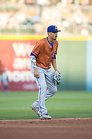 Durham Bulls shortstop Willy Adames (27) on defense against the Charlotte Knights at BB&T BallPark on May 16, 2017 in Charlotte, North Carolina.  The Knights defeated the Bulls 5-3. (Brian Westerholt/Four Seam Images)